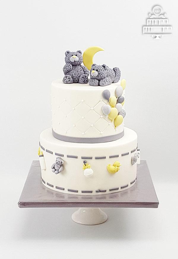 Babyshower taart met grijs