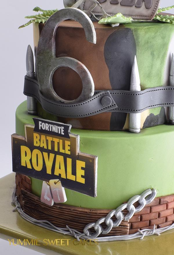 Fortnite game on birthday cake for boy