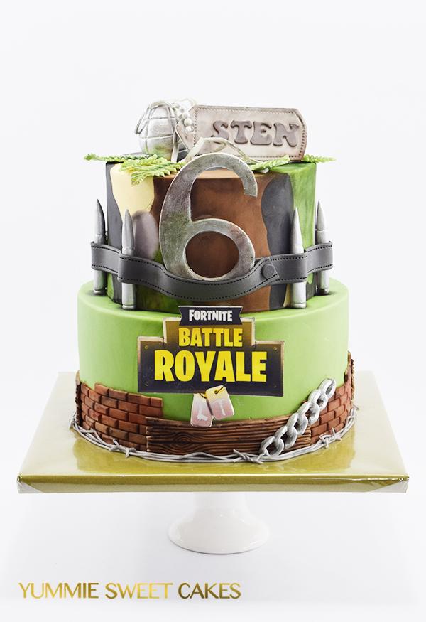 Het populaire spel Fortnite op een taart