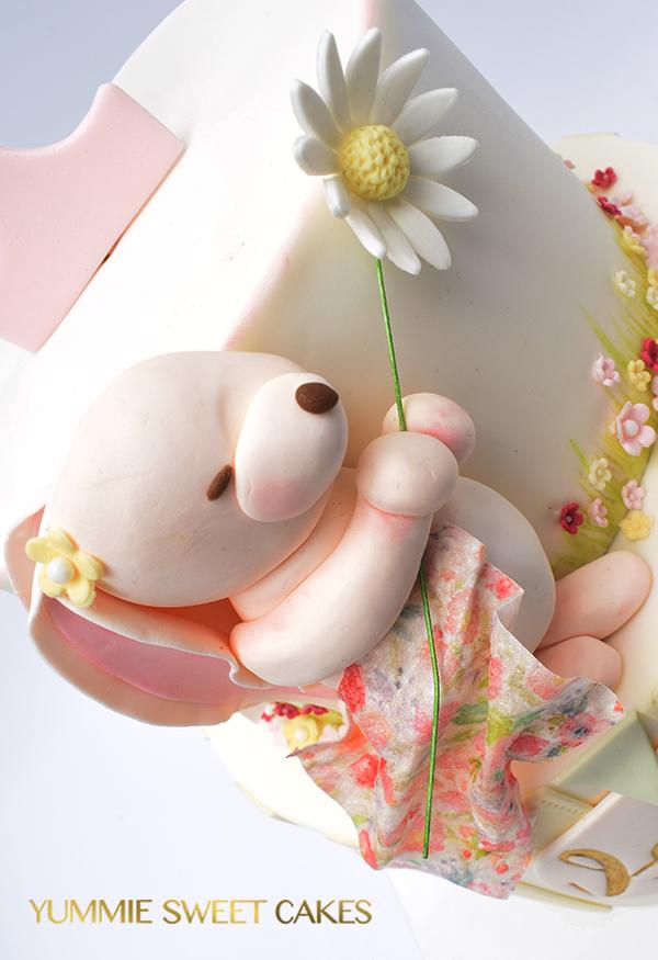 konijntje op een verjaardagstaart