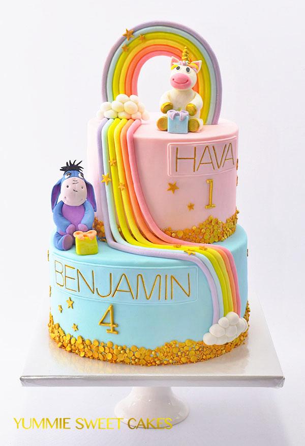 Een taart voor twee jarige kinderen