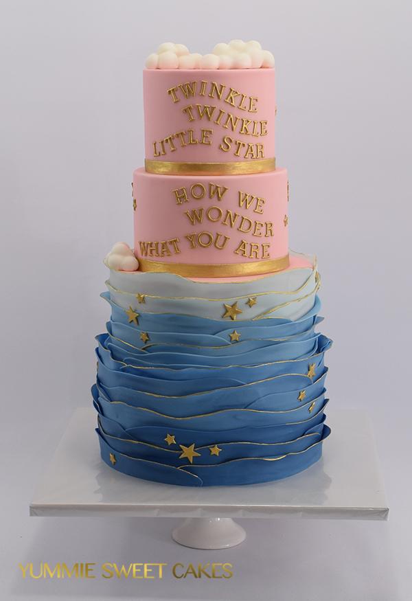 Gender reveal taart met goud