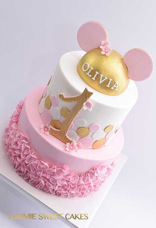 Welp Een Minniemouse taart voor eerste verjaardag • Yummie Sweet Cakes • HT-48