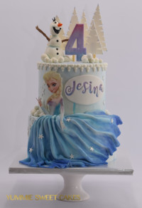 Prinses Elsa op een verjaardagstaart