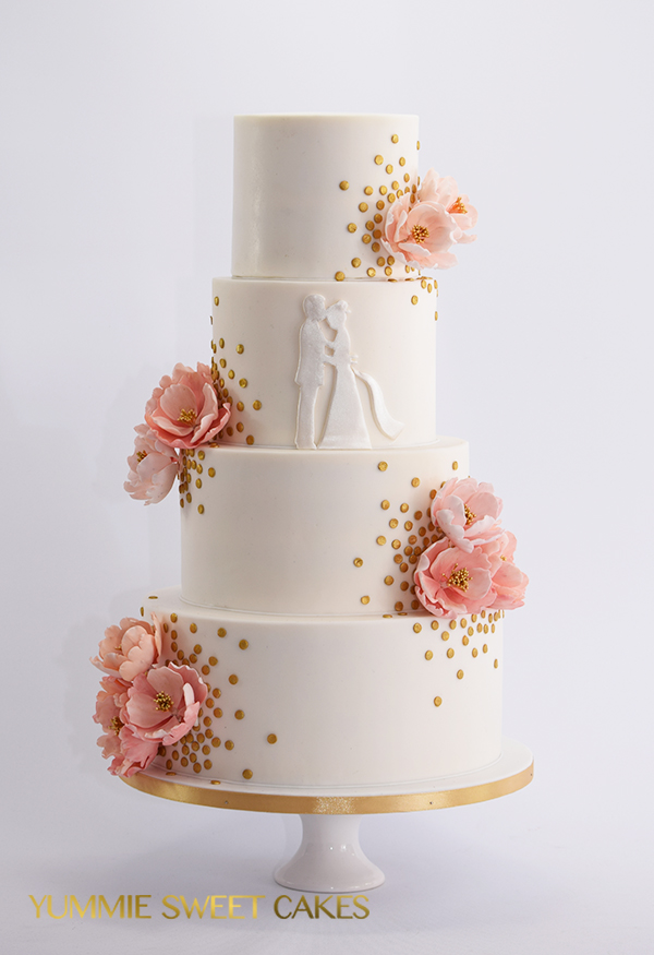 Feestelijke bruidstaart met confetti