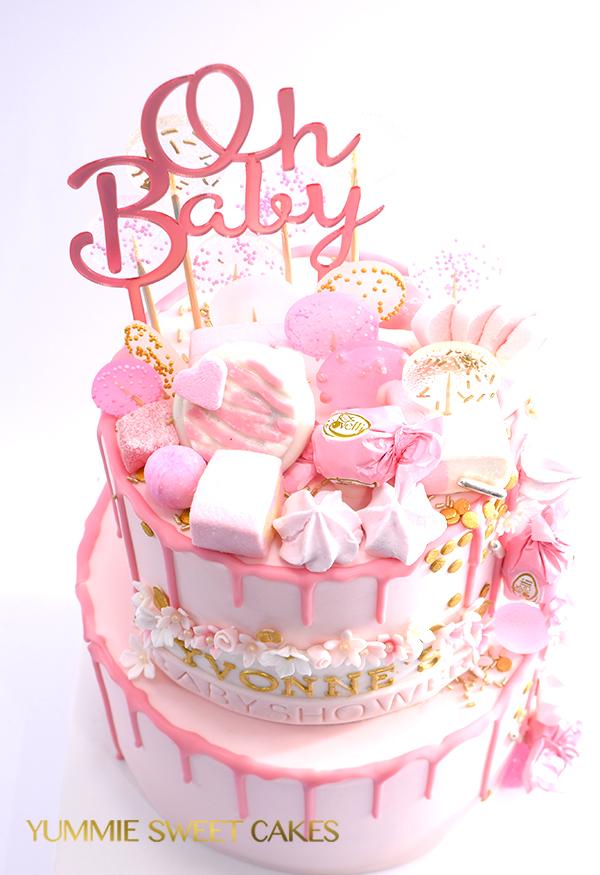 Zoete babyshower taart