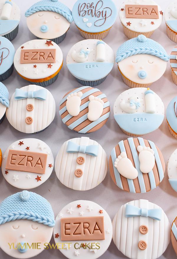 Baby boy geboorte cupcakes
