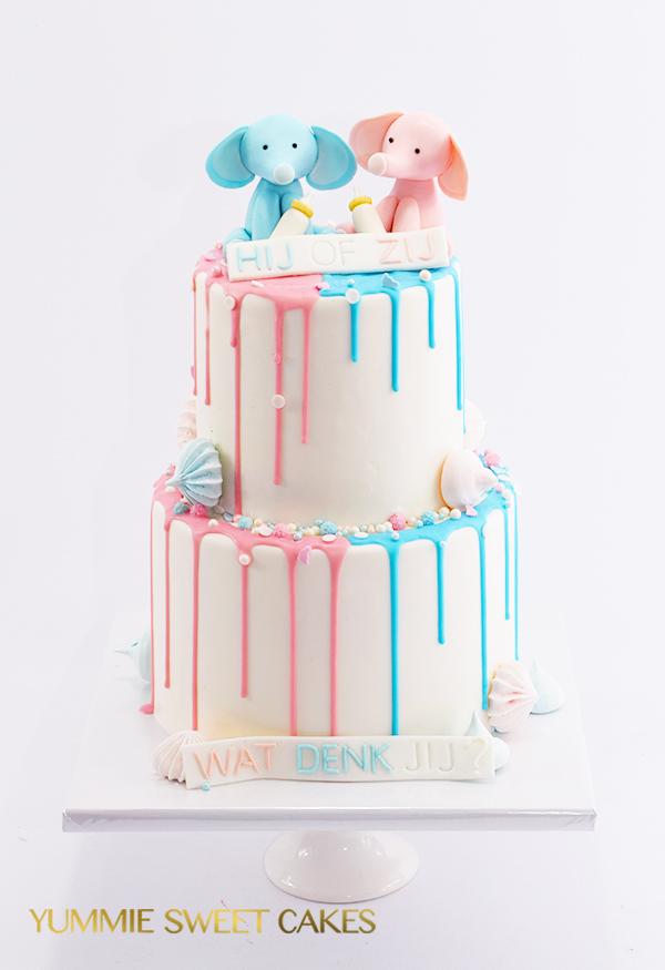 Gender reveal drip taart